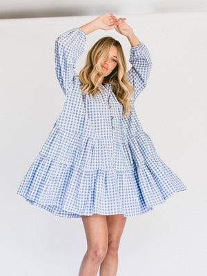 Load image into Gallery viewer, THE LULLABY CLUB Avalon Smock Dress - Blue Gingham