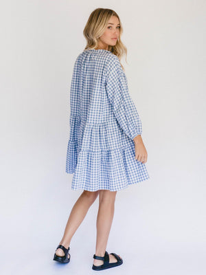 THE LULLABY CLUB Avalon Smock Dress - Blue Gingham