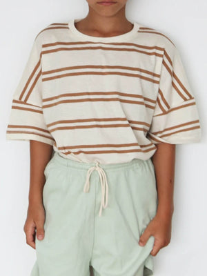 SUMMER AND STORM Oversized Tee - Double Stripe Tan