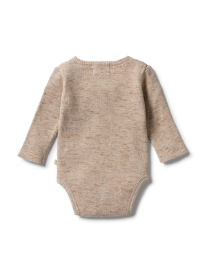 Load image into Gallery viewer, WILSON & FRENCHY Waffle Henley Bodysuit - Oatmeal Fleck