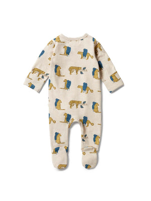 WILSON & FRENCHY Organic Zipsuit with Feet - Sneaky Leopard