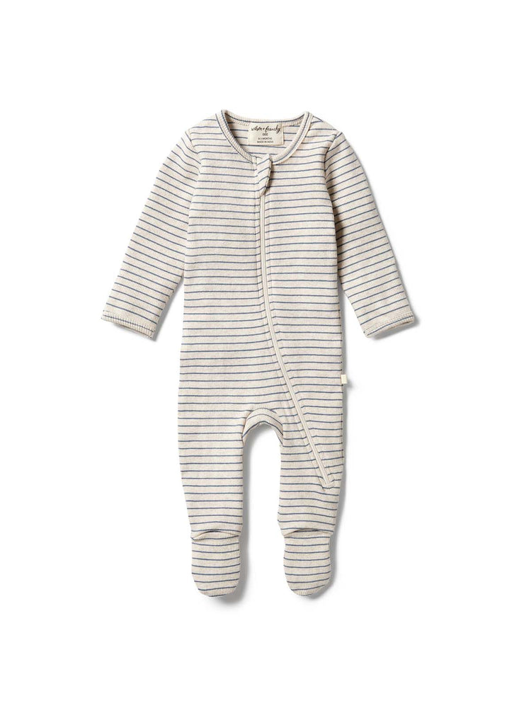 Load image into Gallery viewer, WILSON & FRENCHY Organic Stripe Rib Zipsuit - Denim Blue