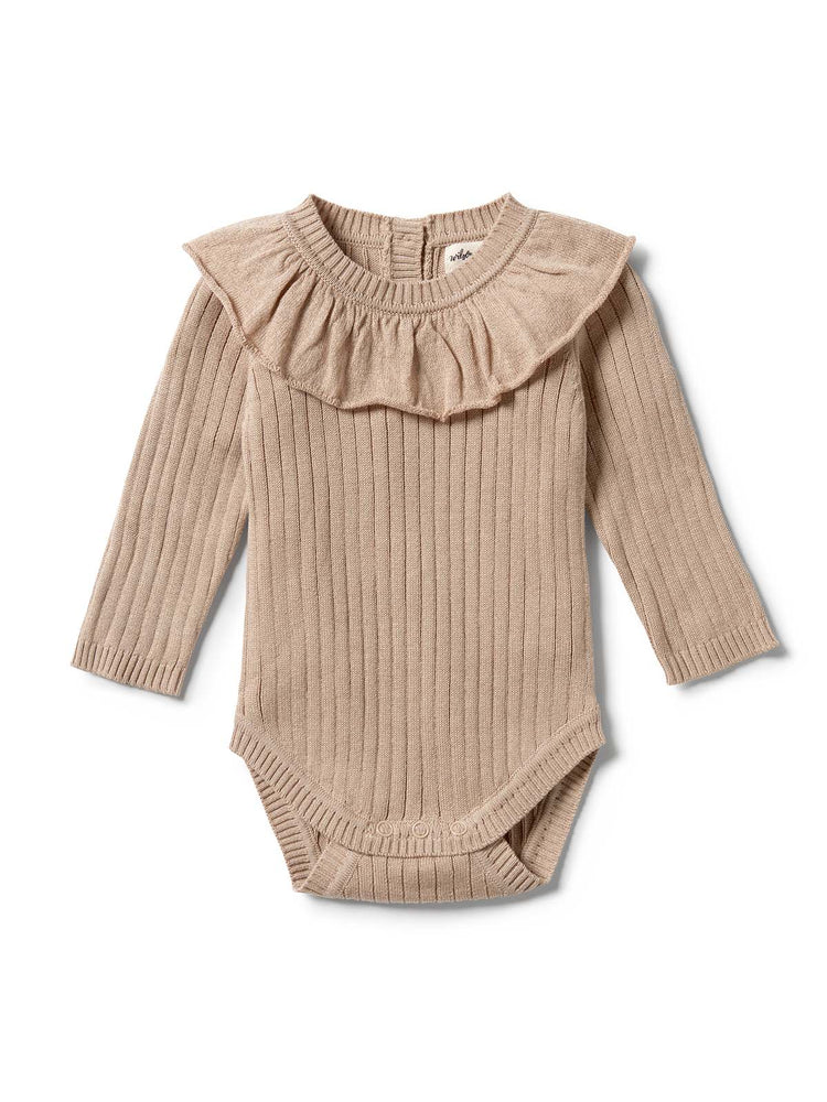 WILSON & FRENCHY Knitted Rib Ruffle Bodysuit - Oatmeal