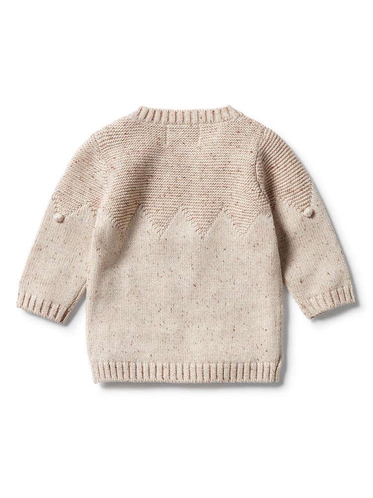 WILSON & FRENCHY Knitted Jumper with Baubles - Oatmeal Fleck