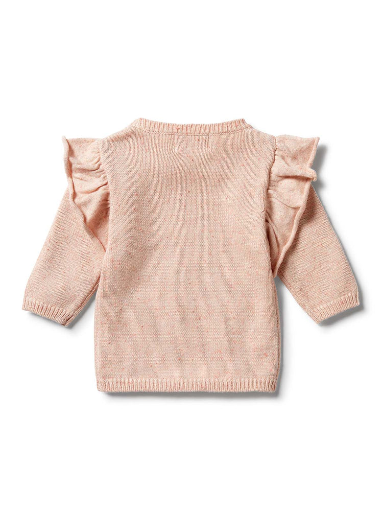 WILSON & FRENCHY Knitted Ruffle Jumper - Flamingo Oatmeal Fleck