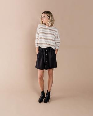 RYLEE + CRU Button Front Mini Skirt - Black