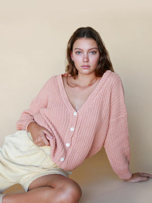 SUMMER AND STORM Women's Chunky Cardigan - Coral