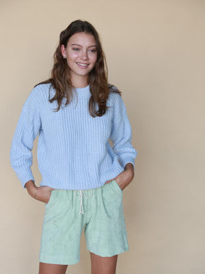 SUMMER AND STORM Womens Chunky Pullover - Powder Blue