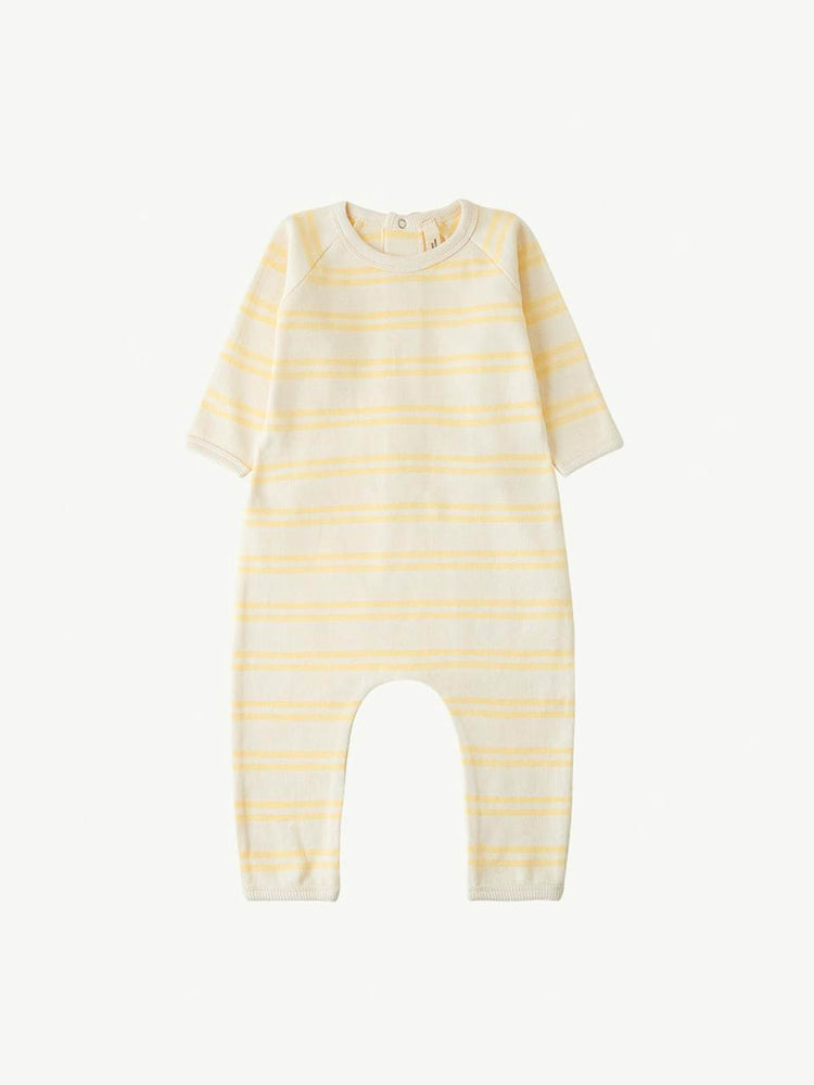 Load image into Gallery viewer, SUMMER AND STORM Back-Snap Romper - Yellow Stripe