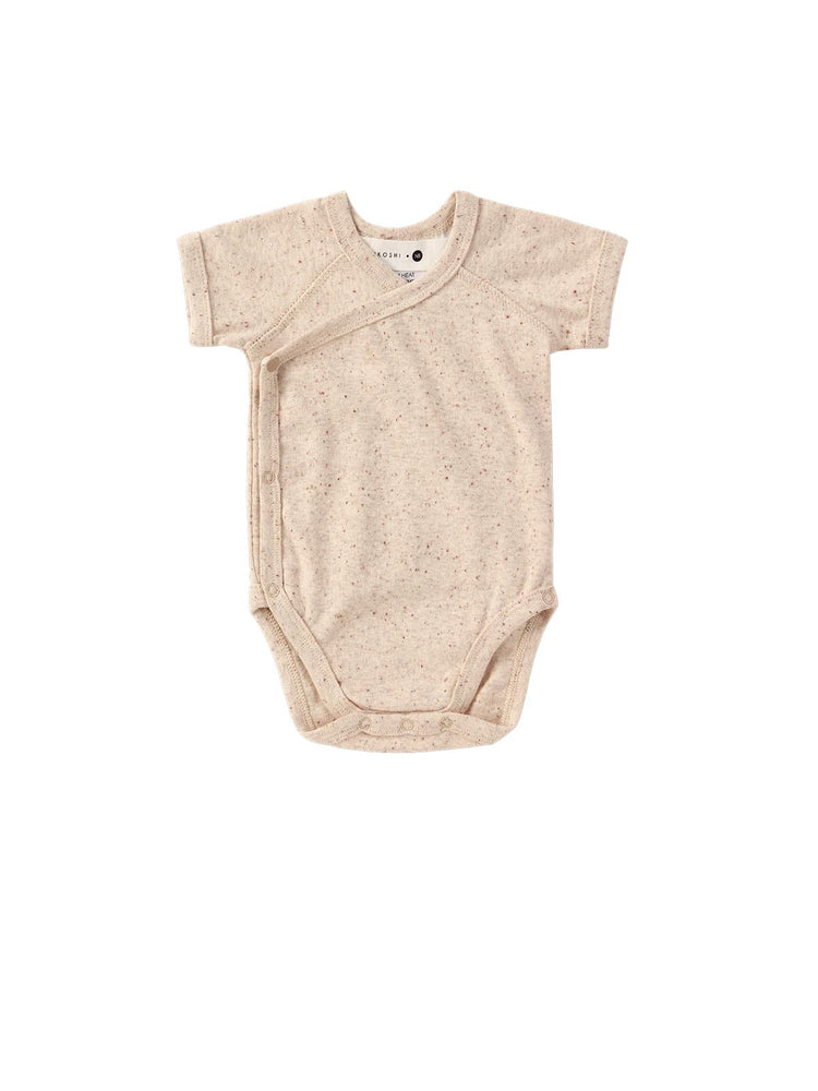 Load image into Gallery viewer, SUSUKOSHI Organic Kimono Bodysuit SS - Beige Speckled