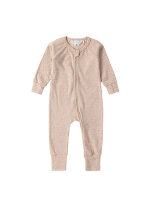 Load image into Gallery viewer, SUSUKOSHI Organic Zip Growsuit - Beige Speckled