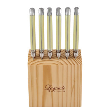 laguiole etiquette 7 piece steak knife block - ivory colour