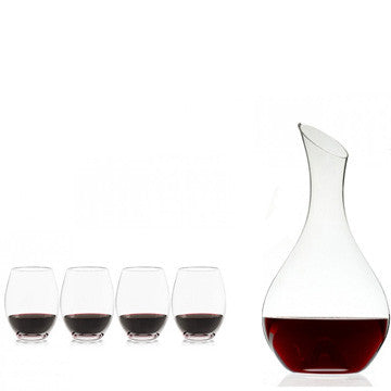 plumm decanter & stemless glass set (4)