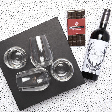 Premium red wine and chocolate gift set