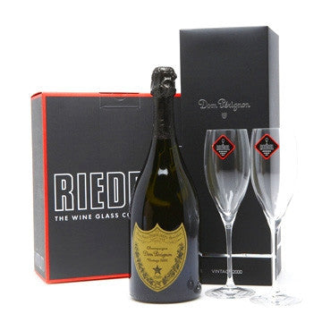 dom perignon and riedel glassware hamper