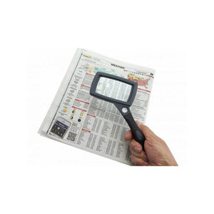 Carson SureGrip 2x Hand Magnifier with 10x Spot Lens and Stand in use