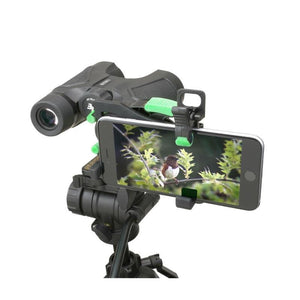 Carson HookUpz 2.0 Universal Optics Adapter for Smartphones - On binoculars