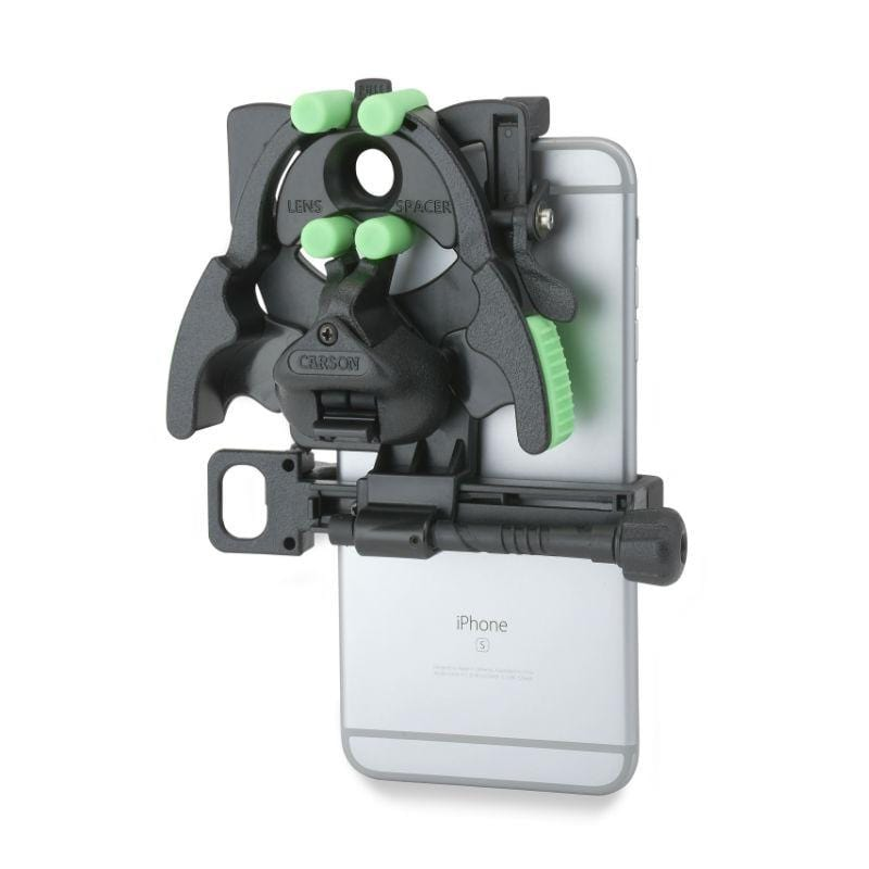Carson HookUpz 2.0 Universal Optics Adapter for Smartphones connected to phone