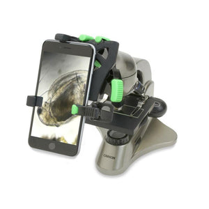 Carson HookUpz 2.0 Universal Optics Adapter for Smartphones - On microscope