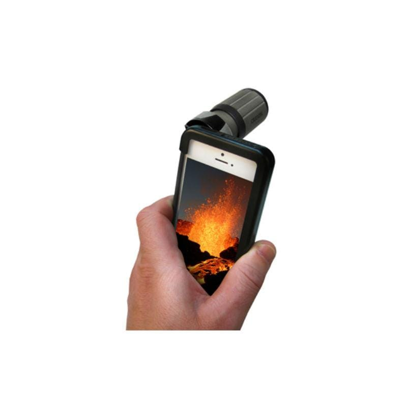 Carson HookUpz iPhone 5/5s/SE/4/4s Adapter with 7x18 Monocular in use