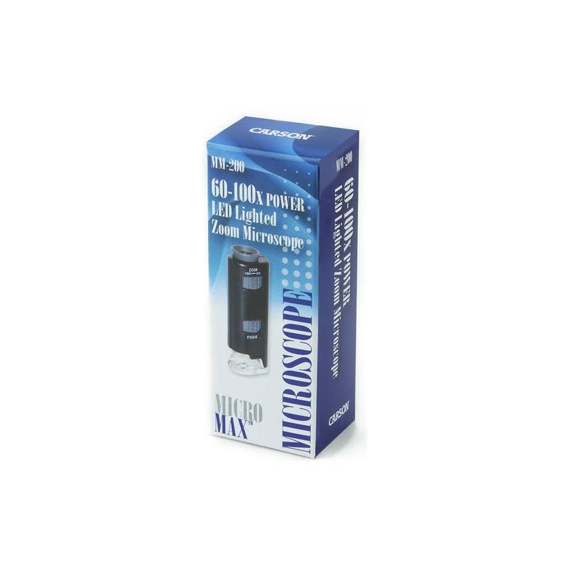 Carson MicroMax 60x-100x LED Pocket Microscope in packaging