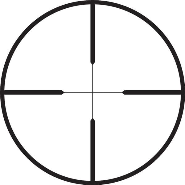 Duplex reticle for rifle scopes