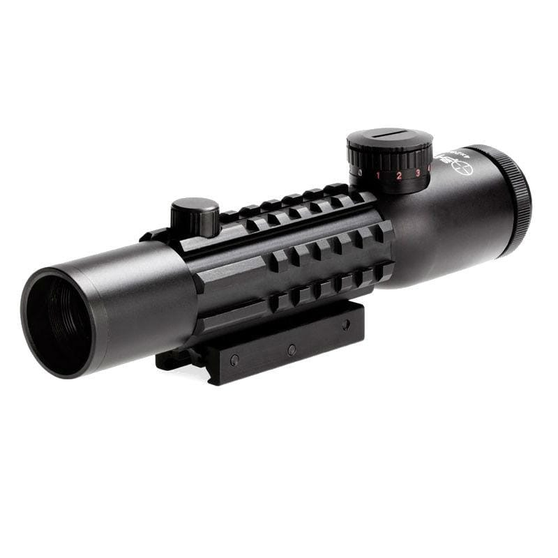 Sun Optics 4x28 IR Tactical Rifle Scope with picatinny side and top mount rails