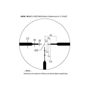 Vortex Razor HD LH 1.5-8x32 Riflescope G4 BDC Reticle subtensions