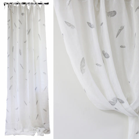 White Linen Curtain with Feathers Set of 2