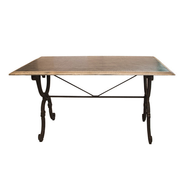 Clarke Dining Table w/ Iron Base - French Chateau