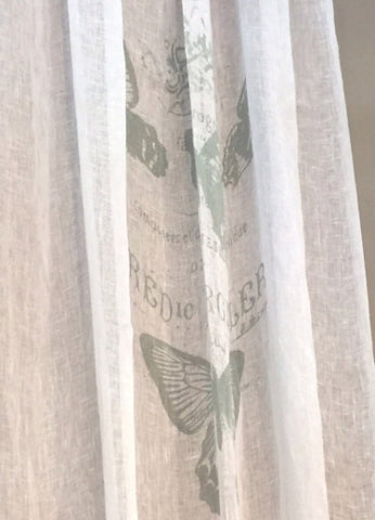 White/Emerald Butterfly Curtain Set of 2