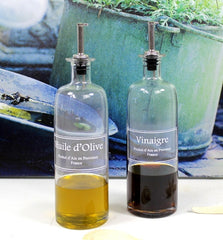 Glass Vinegar Bottle w/ Pourer - French Chateau