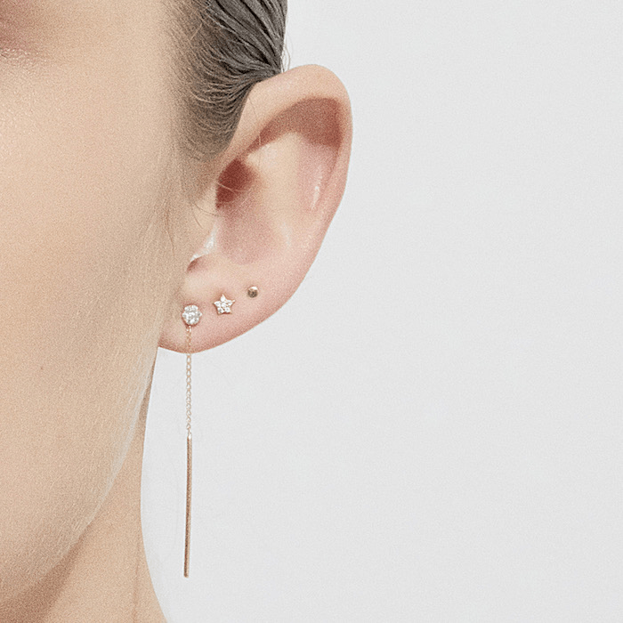 14k Gold Lunar Single Earring