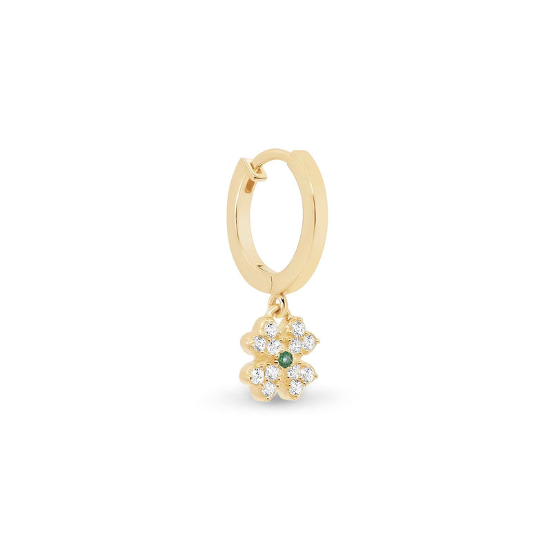 14k Gold Clover of Luck Single Hoop