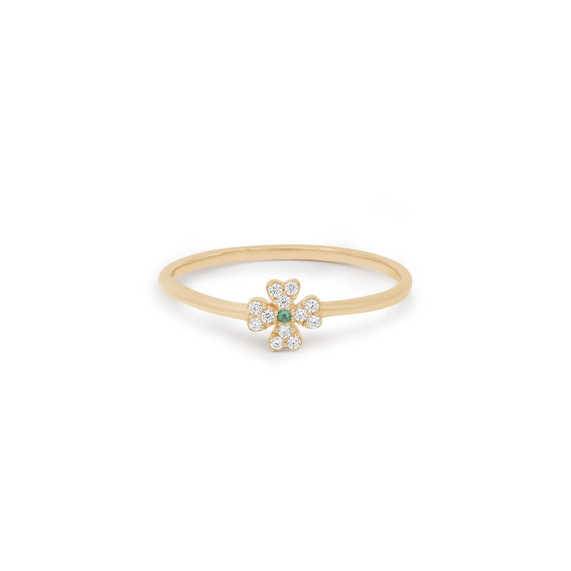 14K Gold Clover of Luck Ring