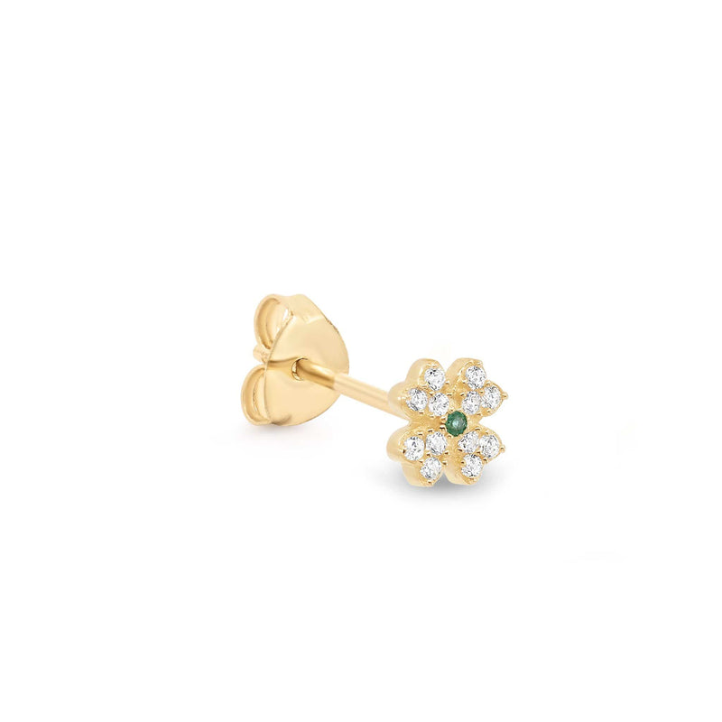 14k Gold Clover of Luck Single Earring