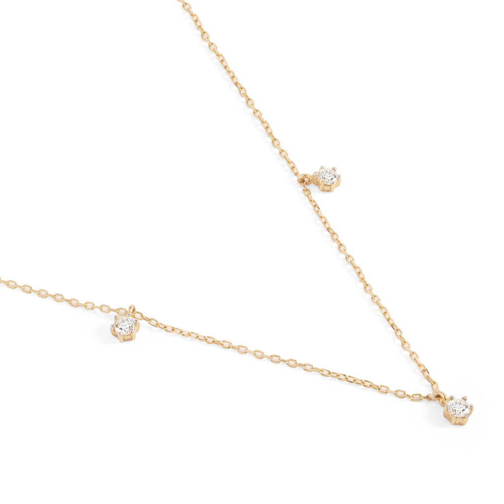 14k Gold Droplets Diamond Necklace