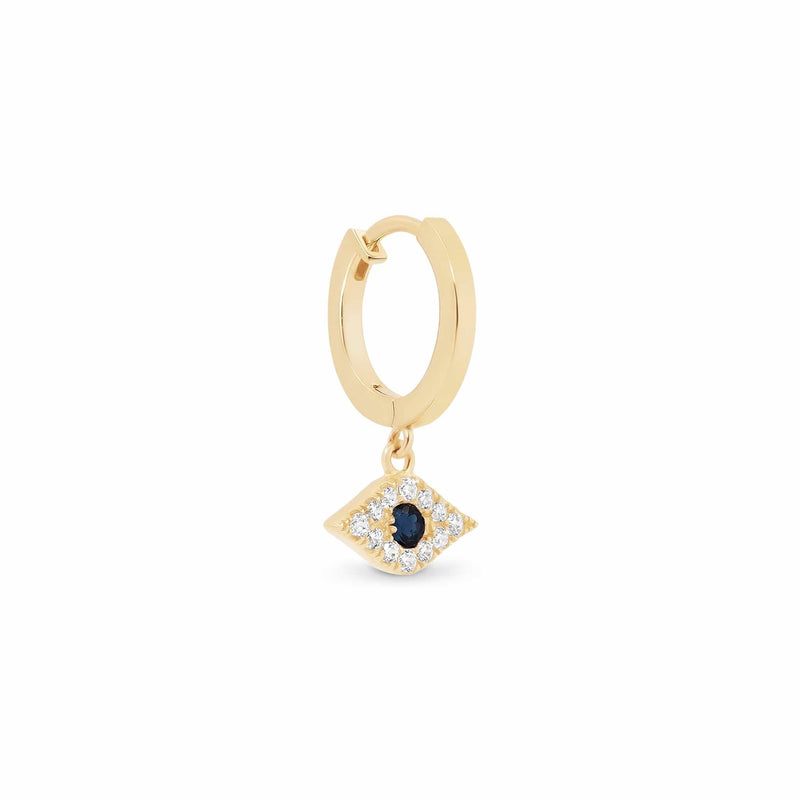 14k Gold Evil Eye Single Hoop