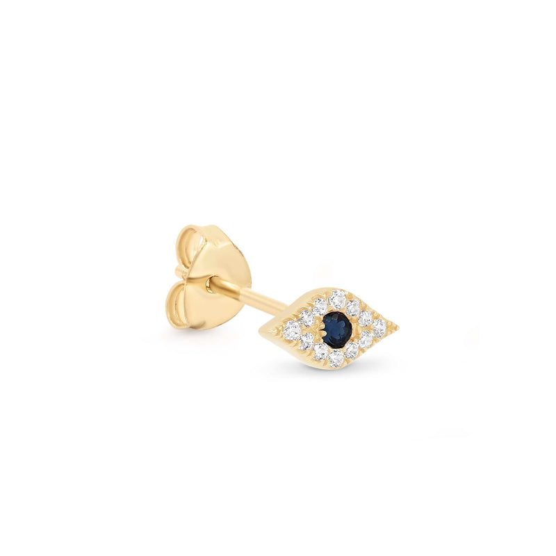 14k Gold Evil Eye Single Earring