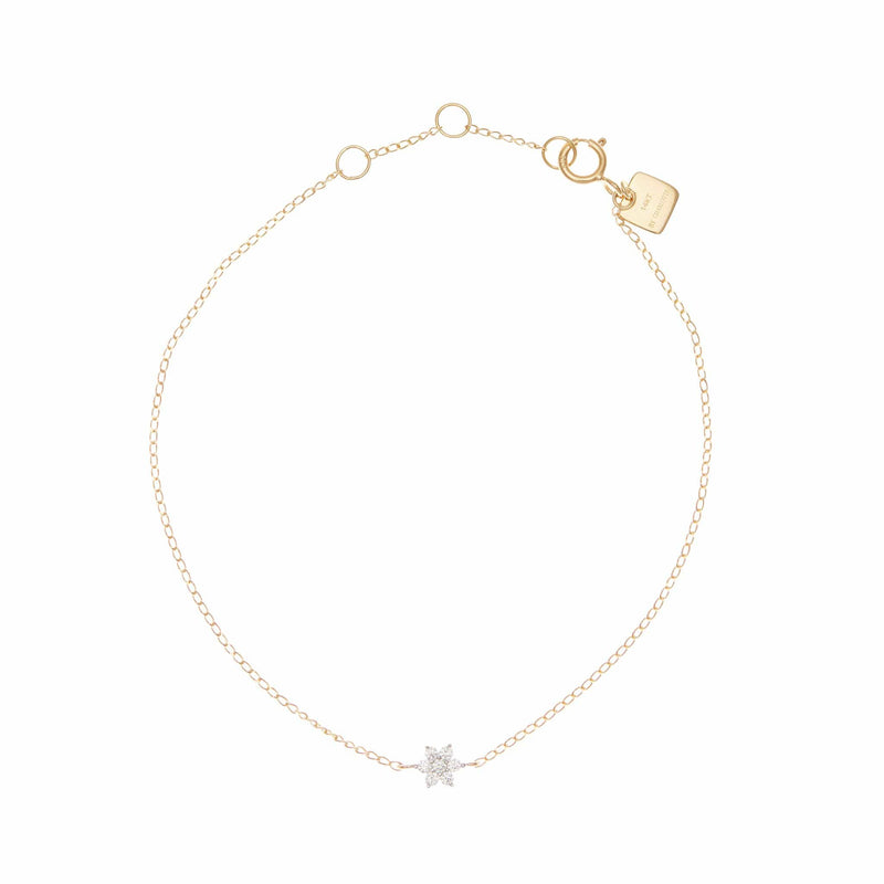 14k Gold Crystal Lotus Flower Bracelet