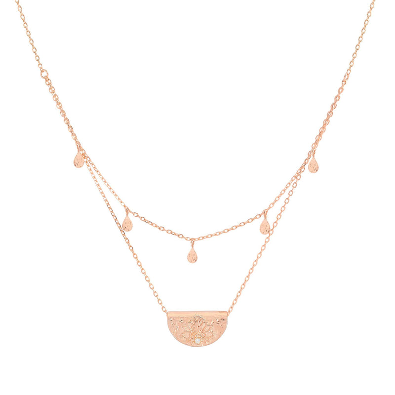 Rose Gold Blessed Lotus Necklace
