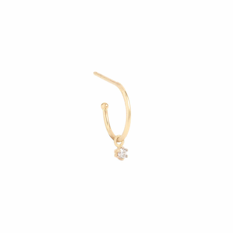 14k Gold Sweet Droplet Diamond Hoops
