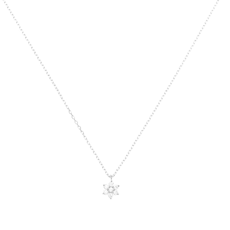 14k White Gold Crystal Lotus Flower Necklace