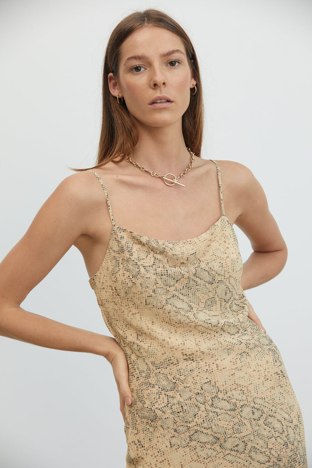 Third Form Animal Instincts Bias Slip Dress - Snake