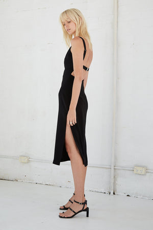 Third Form Band Back Midi Dress - Black