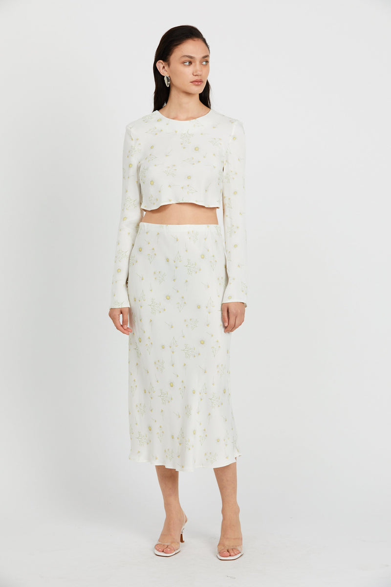 Third Form Wild Flowers Bias Midi Skirt - Daisy