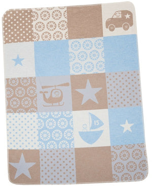 David Fussenegger Bassinet Blanket 'Blue Land, Air & Sea'