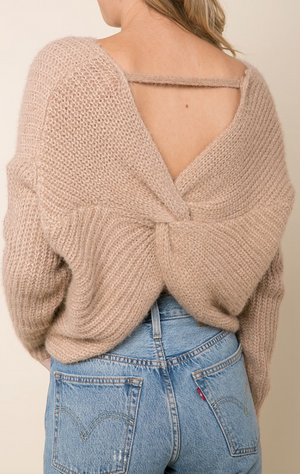 Raga Carter Twist Back Sweater - Beige