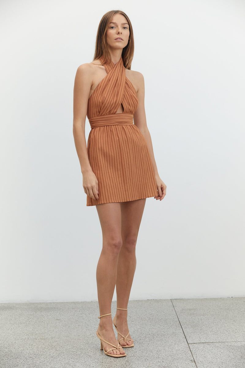 Third Form Crossing Over Mini Dress - Desert