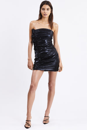 Third Form Drifter Frill Strapless Dress - Black Gloss